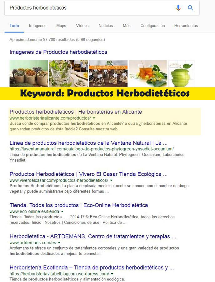Seo Hazañas: Resultados en Google para herboristería.