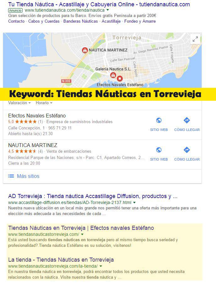 Seo Hazañas: Resultados en Google para Tiendas Náuticas en Torrevieja.