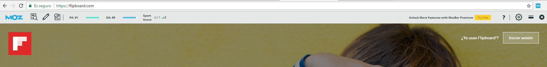Autoridad que muestra la toolbar de Moz para Flipboard.