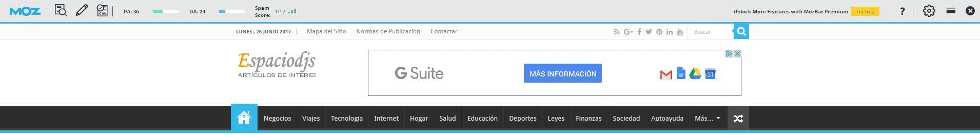 Autoridad que muestra la toolbar de Moz para SpacioDjs.