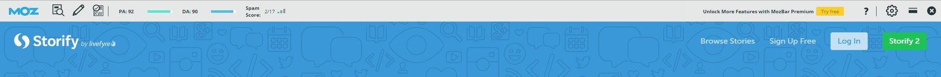 Autoridad que muestra la toolbar de Moz para Storify.