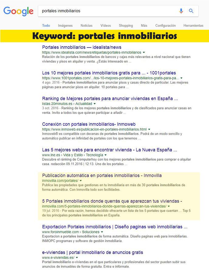 Seo Hazañas: Resultados en Google para Inmovilla con keyword portales inmobiliarios.