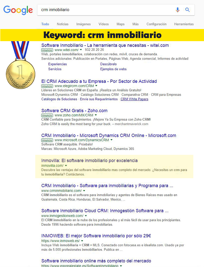 Seo Hazañas: Resultados en Google para Inmovilla con keyword crm inmobiliario.