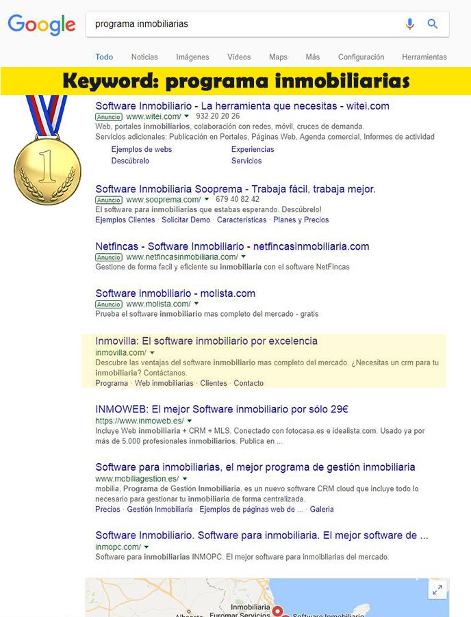 Seo Hazañas: Resultados en Google para Inmovilla con keyword programa inmobiliarias.