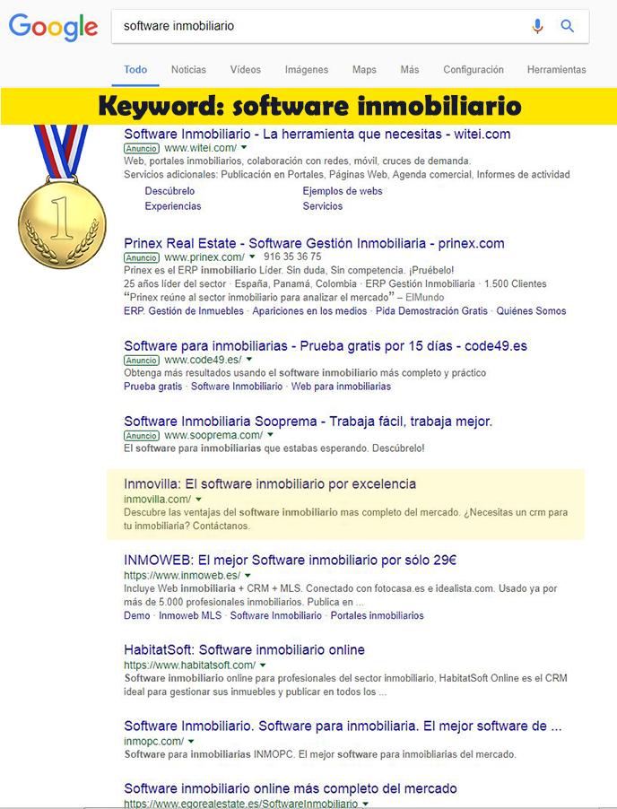 Seo Hazañas: Resultados en Google para Inmovilla.